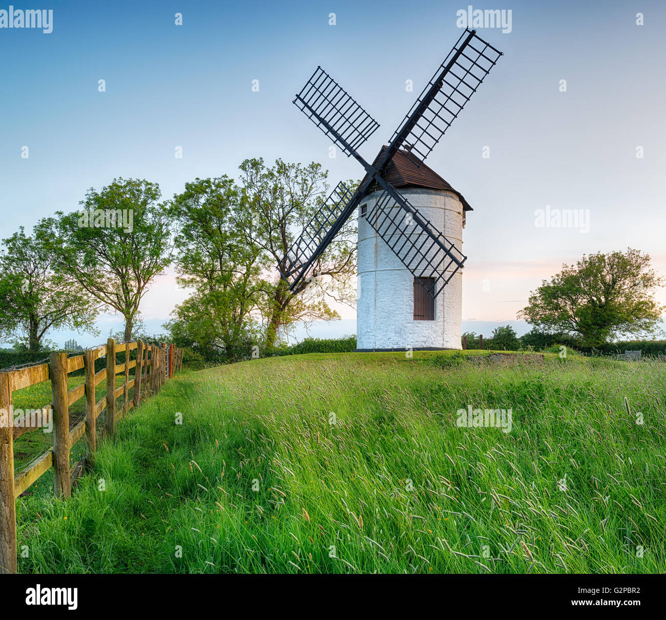 Ashton Windmill, an 18th century tower mill near Chapel Allerton in Somerset - Stock Image