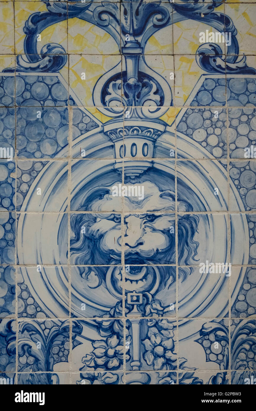 Example of tiles (Azulejos) used for display on the exterior of a building, Lisbon, Portugal - Stock Image