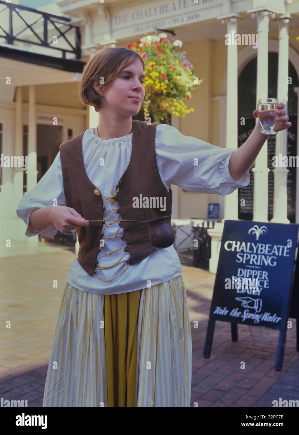 Costumed dipper at the Chalybeate Spring. The Pantiles. Royal Tunbridge Wells. Kent. UK. Europe - Stock Image