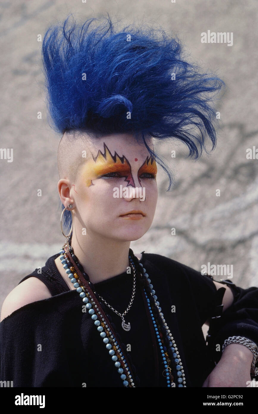 Female Punk Rocker With Blue Mohican Hair London Uk