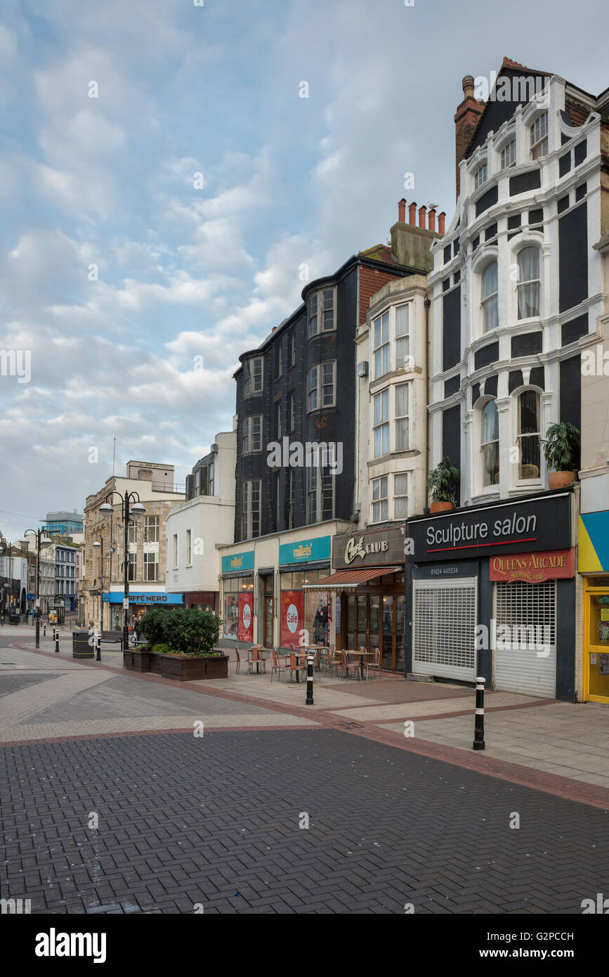 Deserted town centre. Wellington Square. Hastings. East Sussex. UK - Stock Image