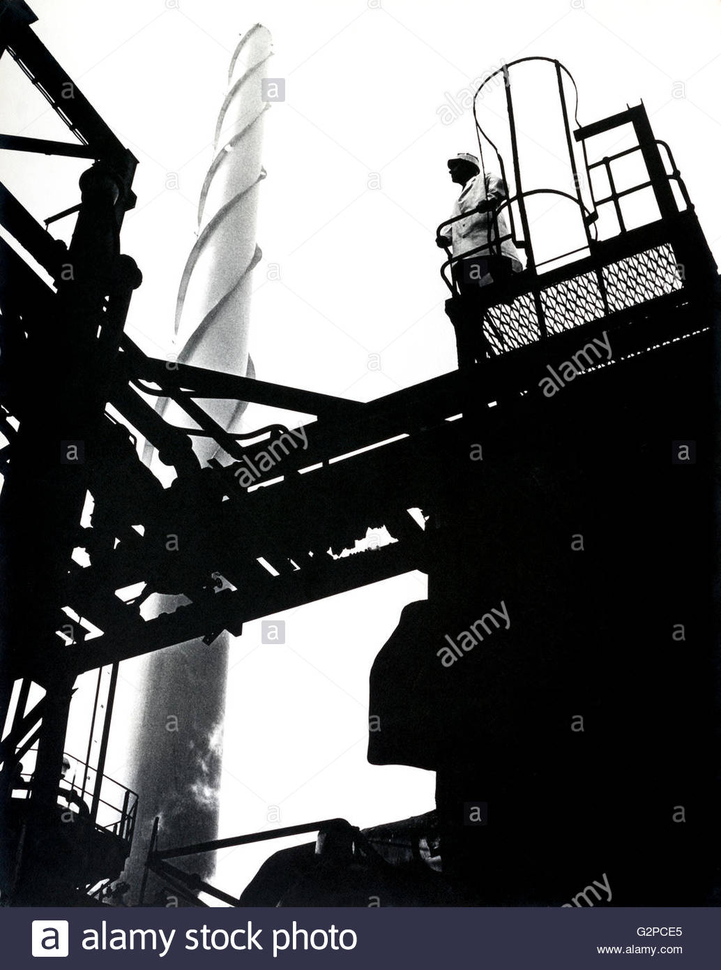 Metal industrial chimney of the sulphuric acid plant at the British