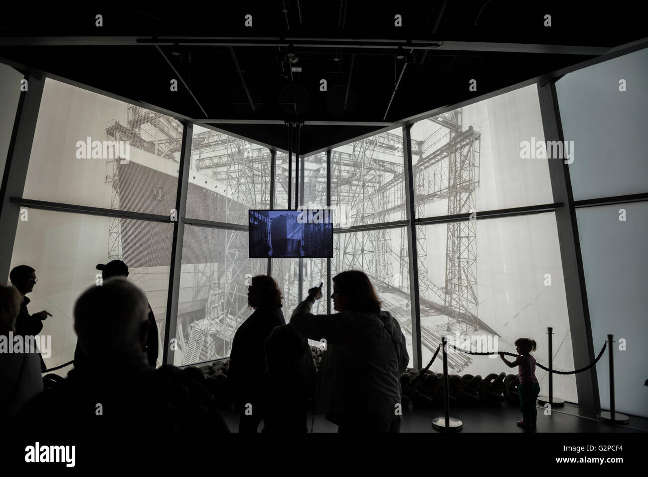 The launch. Titanic Belfast. The Titanic Experience. Northern Ireland. Europe - Stock Image