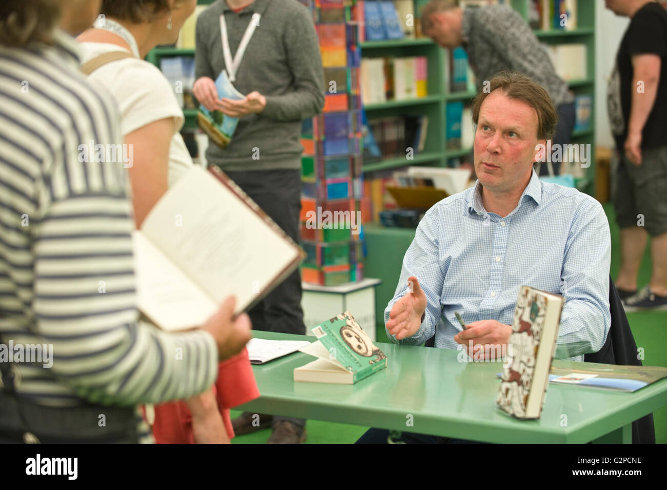 John Lewis-Stempel author book signing in the bookshop at Hay Festival 2016 - Stock Image