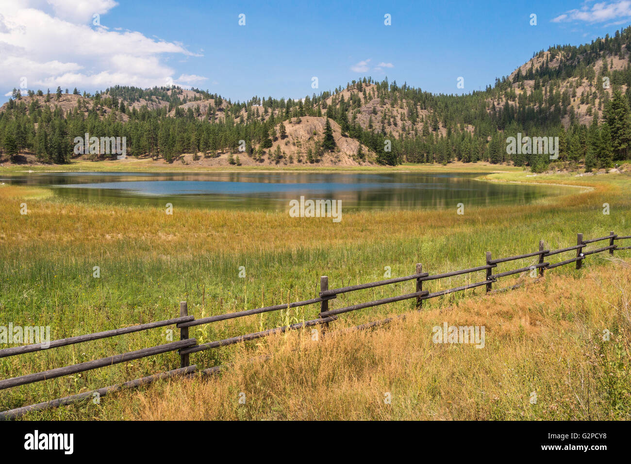 Mahoney Lake is a meromictic saline lake and ecological reserve.  It is alkaline and has no inflow or outflow. - Stock Image