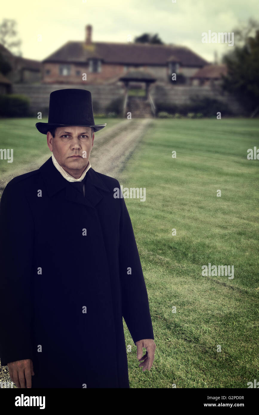 1800 man with manor house Stock Photo
