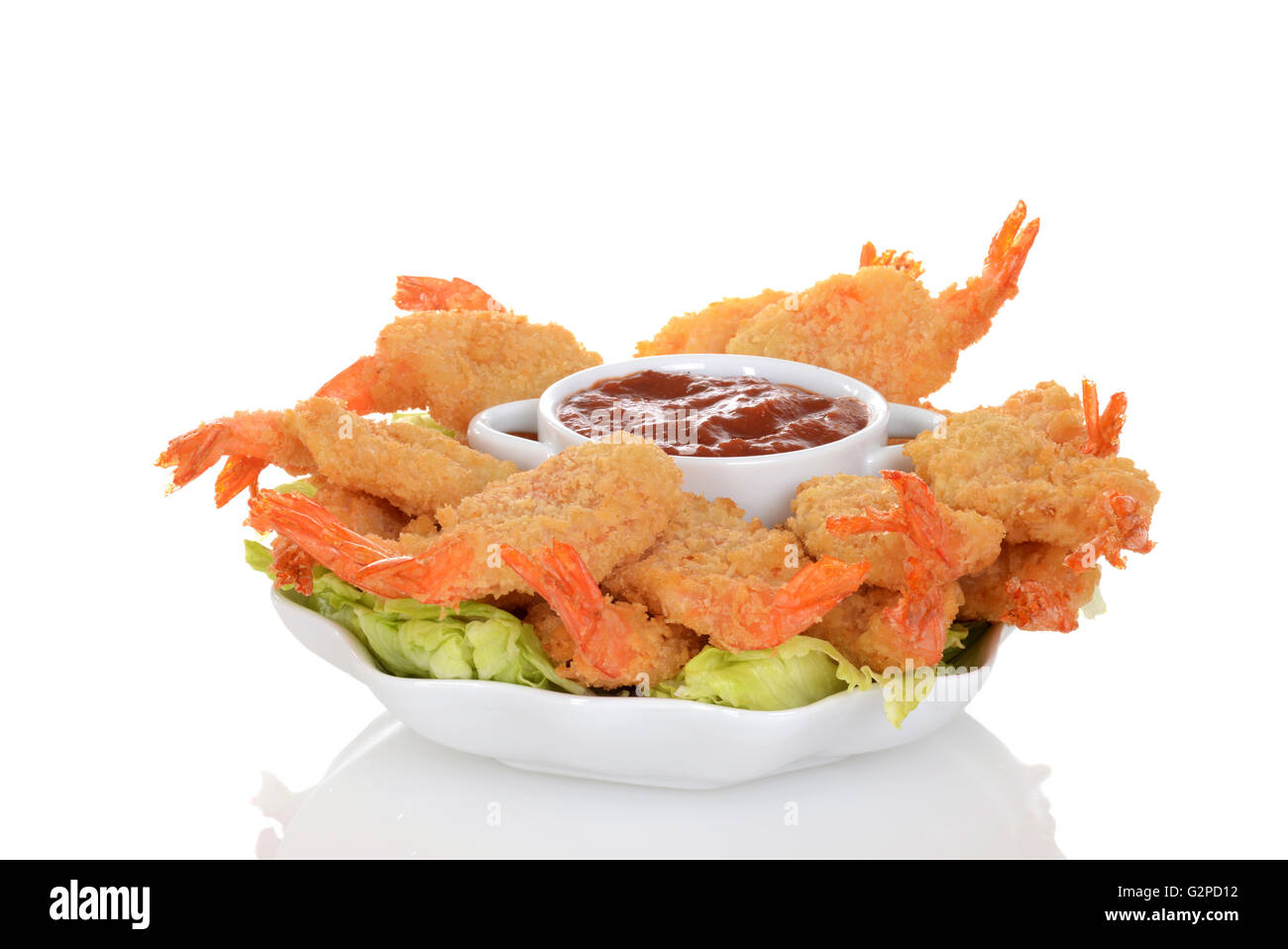 butterfly shrimp with seafood sauce - Stock Image