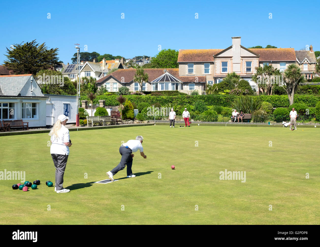 Flat Green bowling at Penzance in Cornwall, England, UK - Stock Image