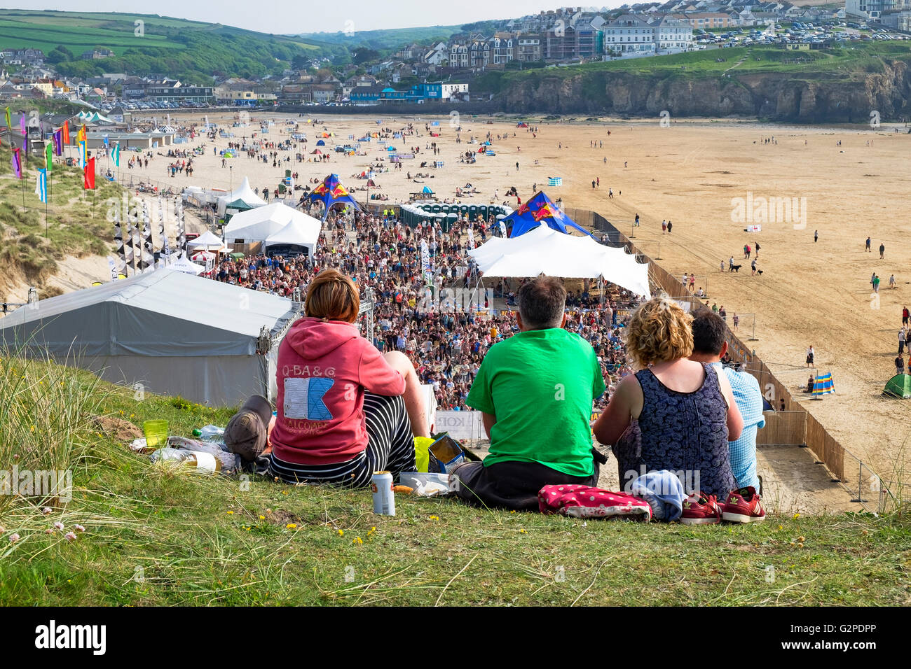 ' tunes in the dunes '  music festival on the beach in Perranporth, Cornwall, England, UK - Stock Image
