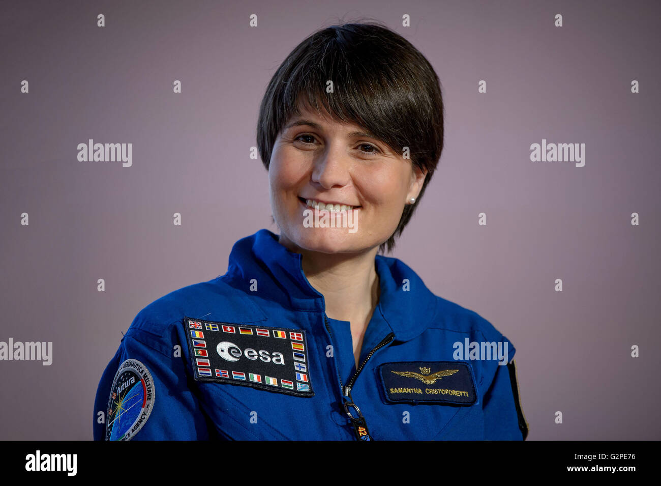 Astronaut Samantha Cristoforetti of ESA (European Space Agency) - Stock Image
