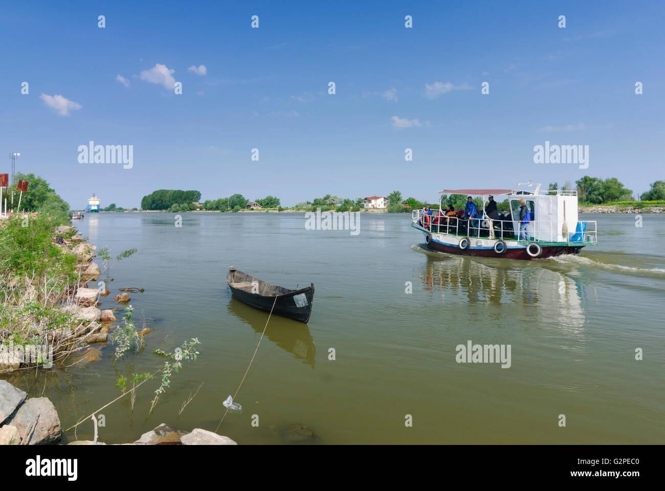 Tourist ship in the Sulina branch of the Danube in the Danube Delta, Romania, Dobrogea, Dobruja, Dobrudscha , Crisan - Stock Image