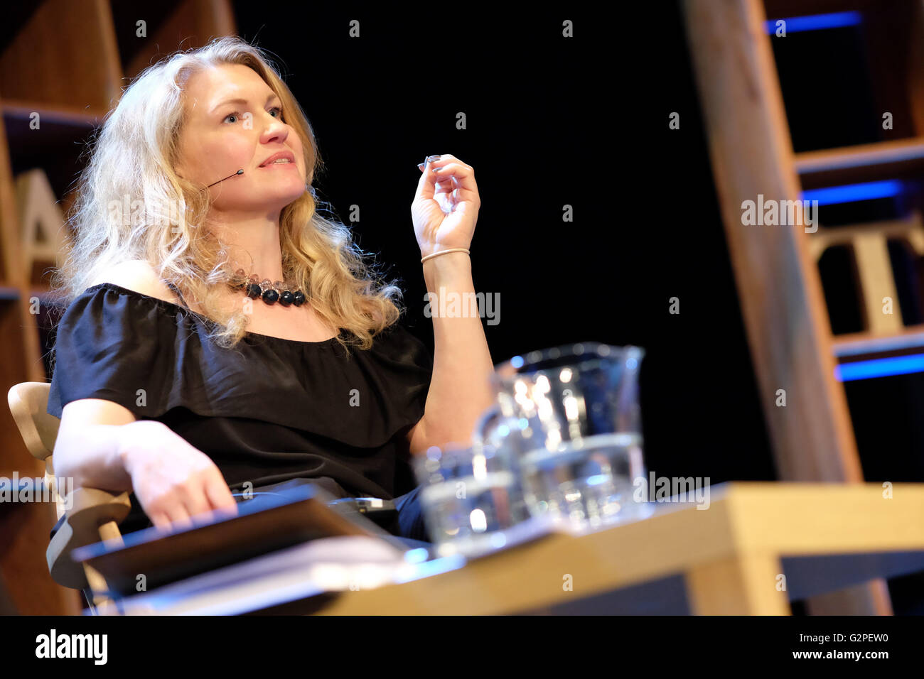 Hay Festival, Wales, UK - June 2016 -  Author Fay Bound Alberti reads from her latest work This Mortal Coil. Stock Photo