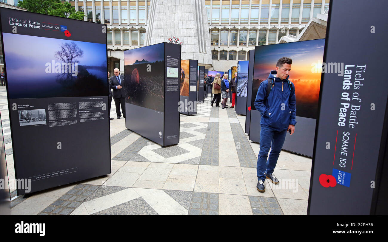 London, UK. 1st June 2016. Launch of the Fields of Battle, Lands of Peace Somme 100 outdoor exhibition by Michael Stock Photo