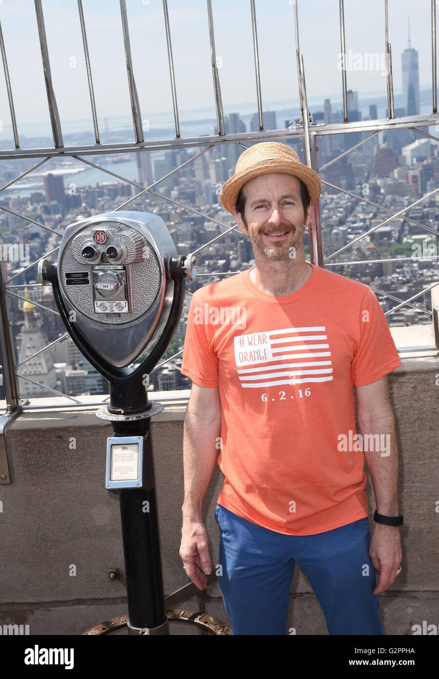 Denis O'Hare at the press conference for Spike Lee Lights Empire State Building Orange for Gun Violence Awareness - Stock Image