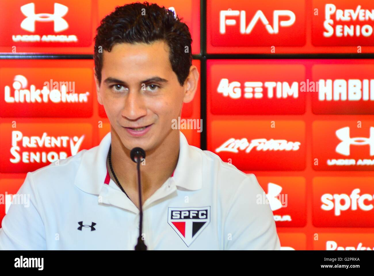 SAO PAULO, Brazil - 02/06/2016: COLLECTIVE GOOSE PH - PH Ganso during a press conference about his call for the - Stock Image