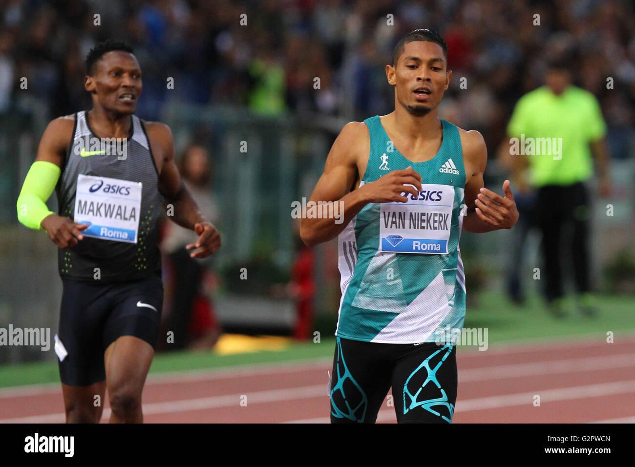 Stadio Olympico, Rome, Italy. 02nd June, 2016. IAAF Diamond League Rome. Niekerk winner of 400m men ahead of Isaac - Stock Image