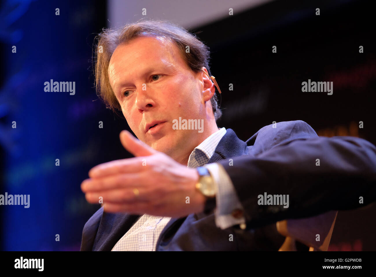 Hay Festival, Wales, UK - June 2016 -  Author John Lewis-Stempel talks about wildlife in the countryside and his - Stock Image