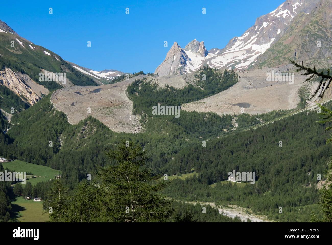 The Miage Glacier. Mont Blanc. - Stock Image