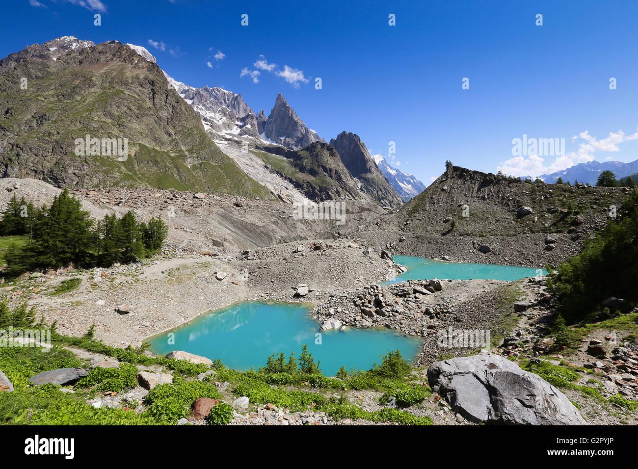 Miage lake (Lac du Miage ). Val Veny. Mont Blanc. - Stock Image