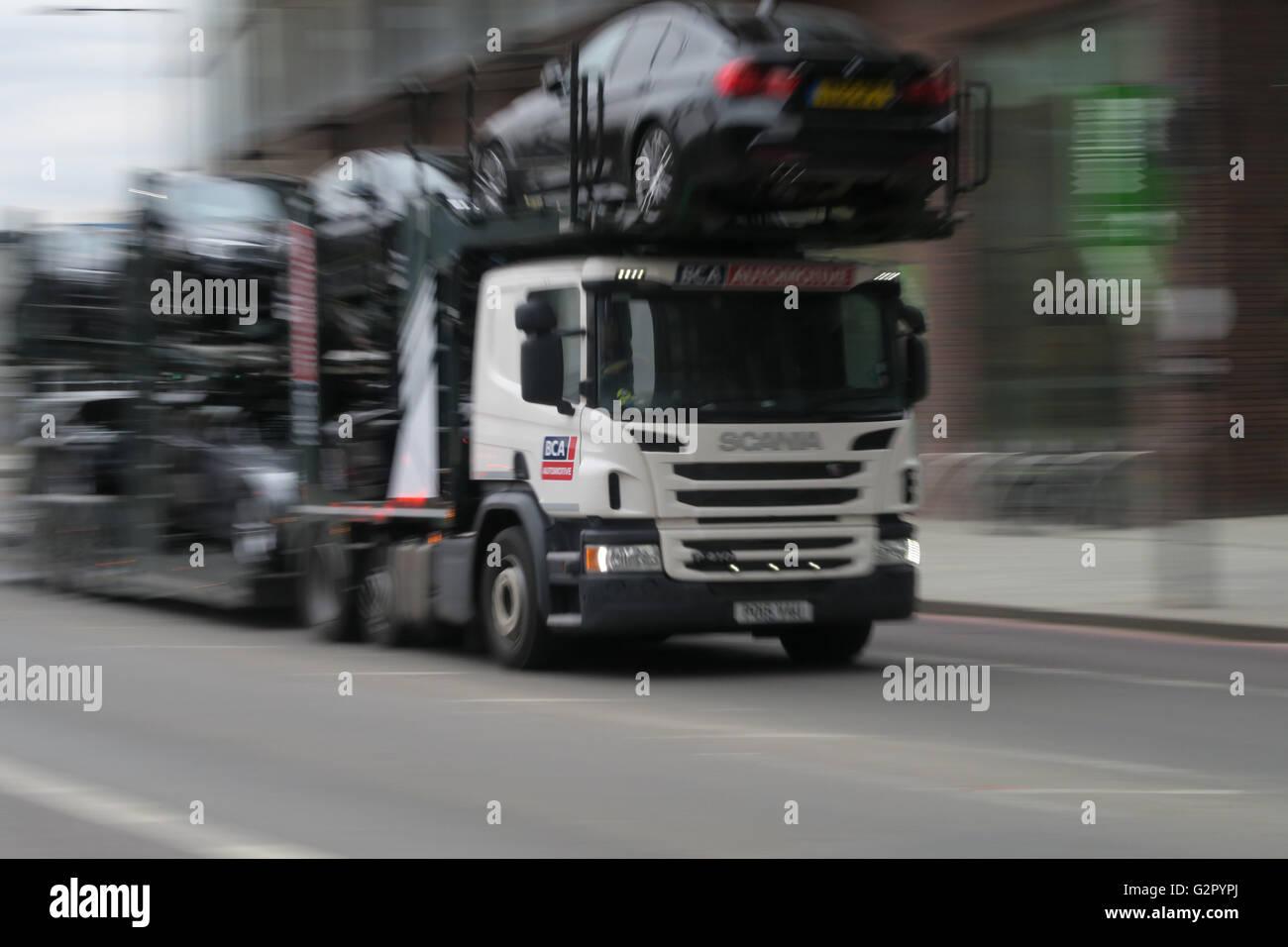 Scania car transporter HGV in Vauxhall, London, United Kingdom - Stock Image