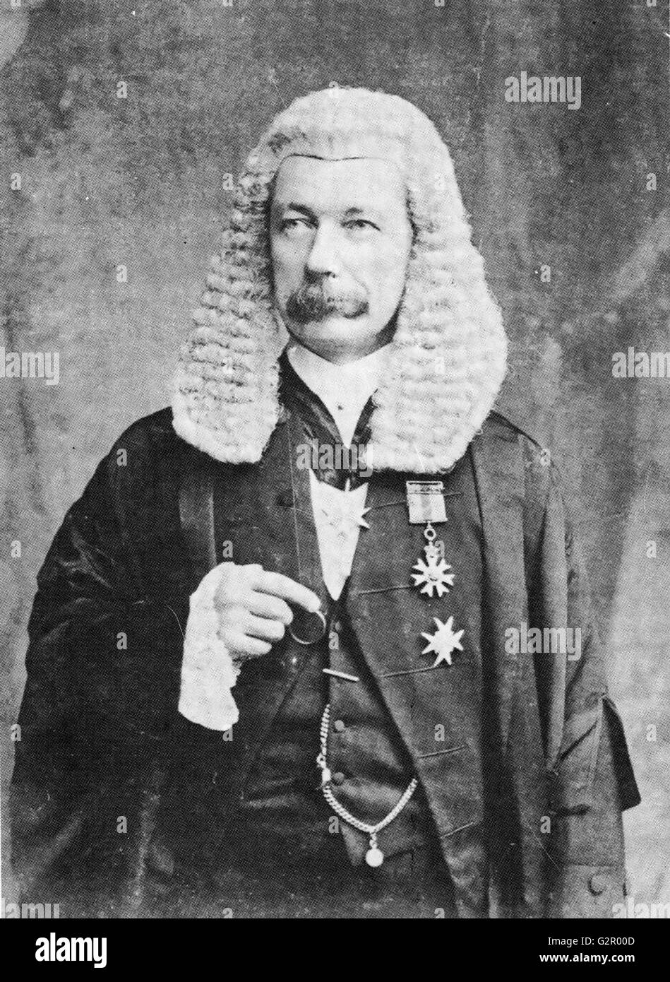 JOHN CARRINGTON  (1847-1913) British jurist and colonial administrator about 1897 while Chief Justice of Hong Kong - Stock Image