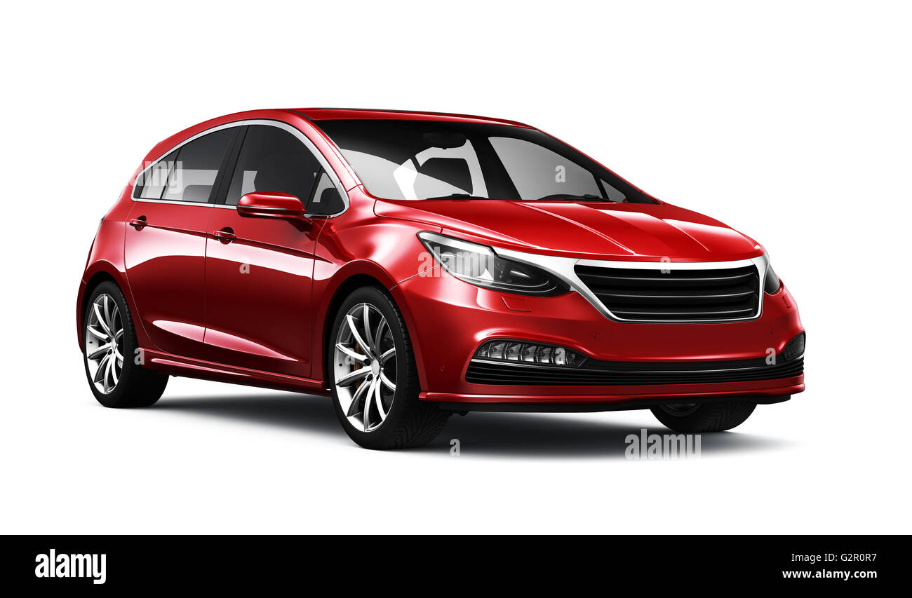 Red generic hatchback car - Stock Image
