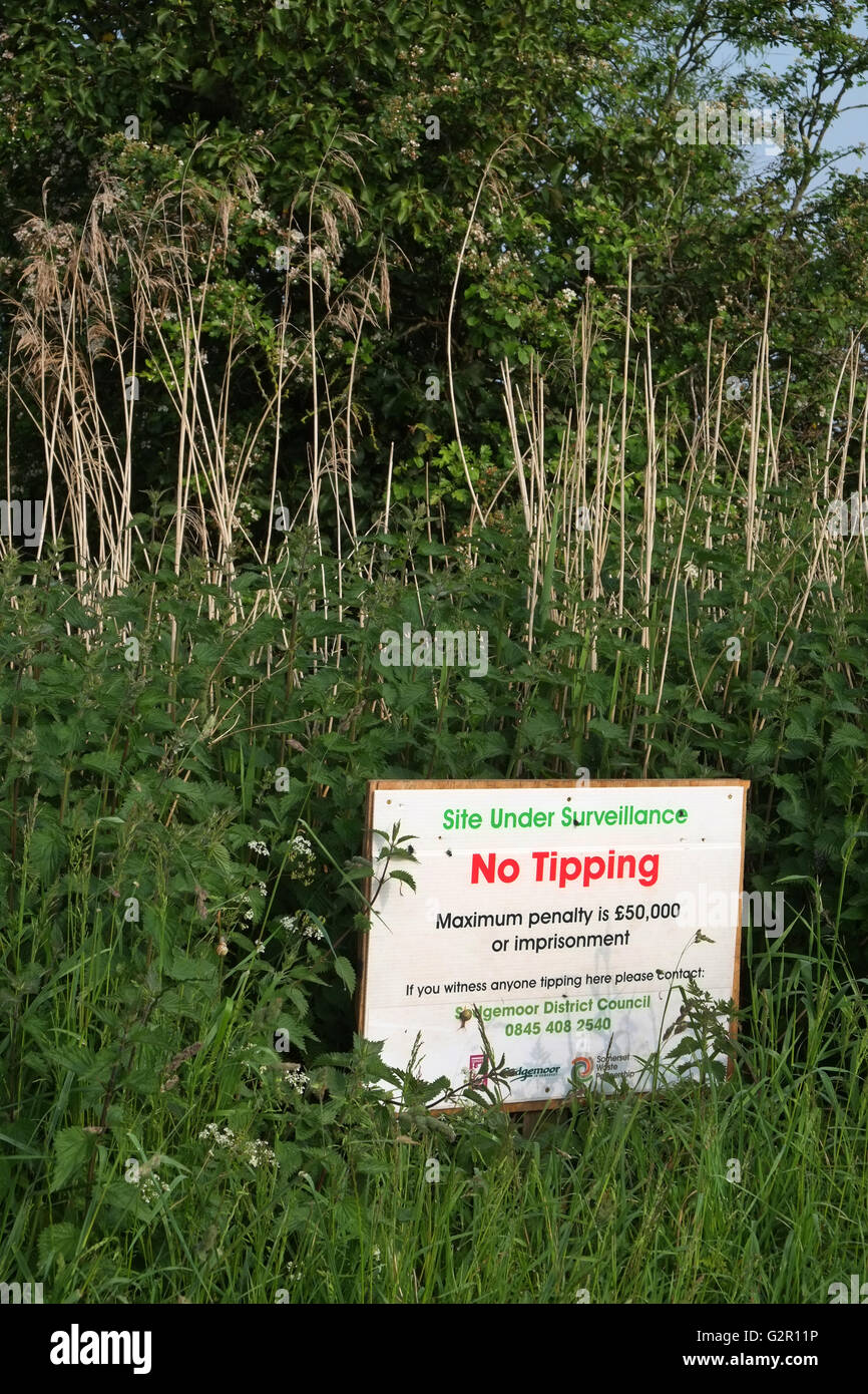No tipping sign, Maximum penalty £50,000 site under surveillance, fly tip area in Rural Somerset. June 2016 - Stock Image