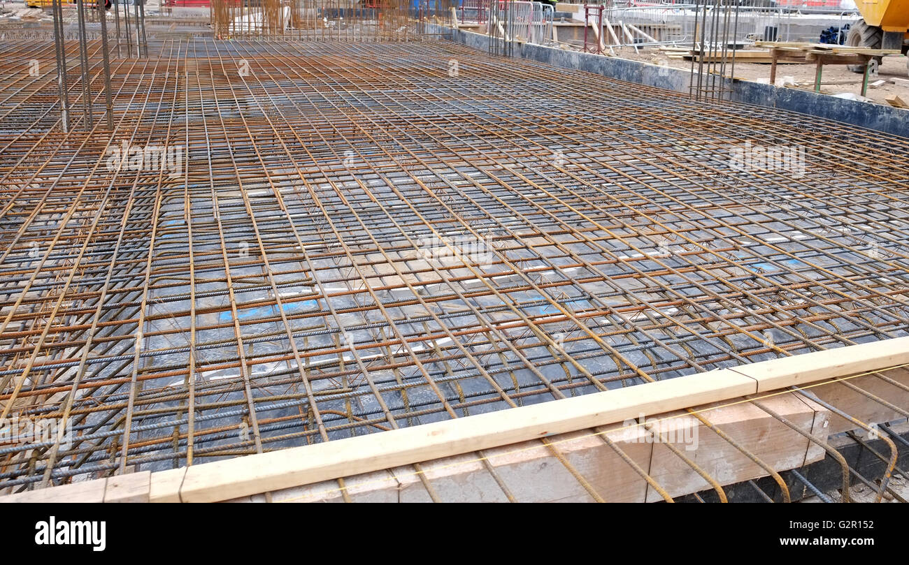 Concrete Slab Construction : Construction site floor slab ready and waiting for