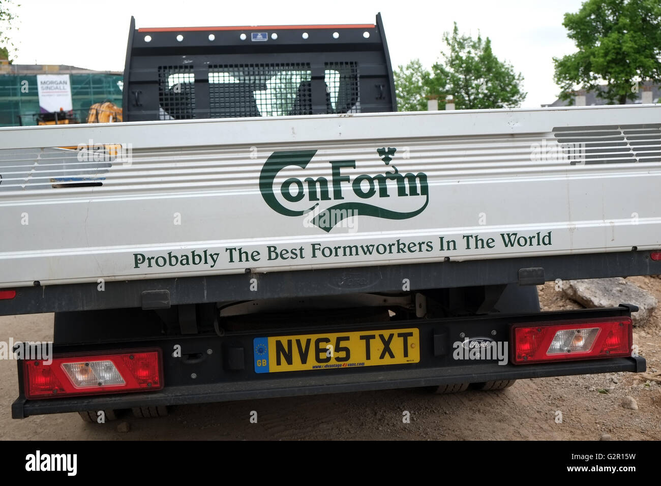 Probably the best builder ( Formworkers ) in the world sign on the back of a builders truck. June 2016 - Stock Image