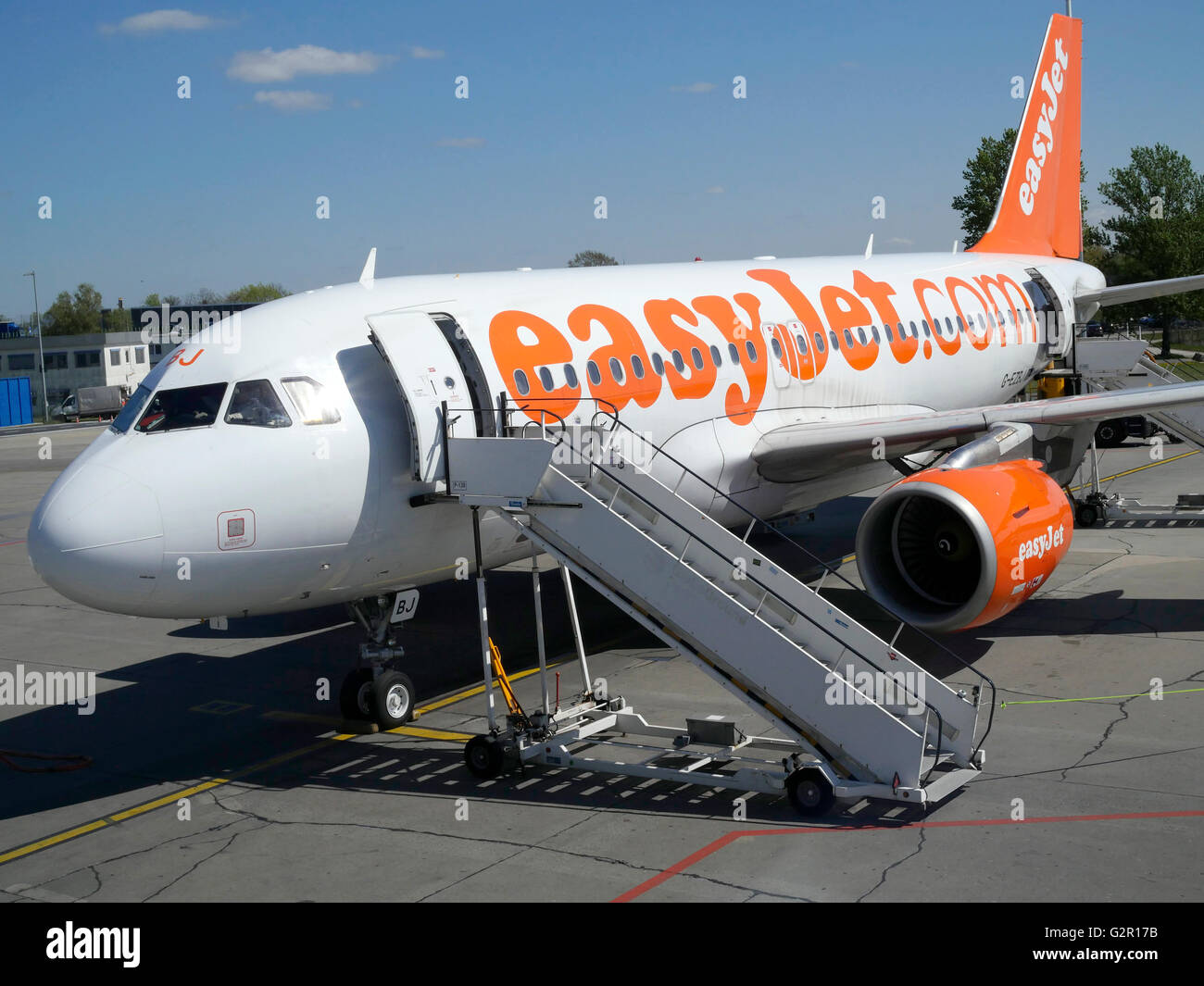 Easyjet Airbus A320-214 on the apron at Berlin Schonefeld, Berlin, Germany, Europe. - Stock Image