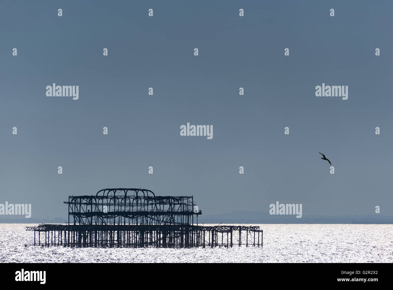 Silhouette of the West Pier - Stock Image