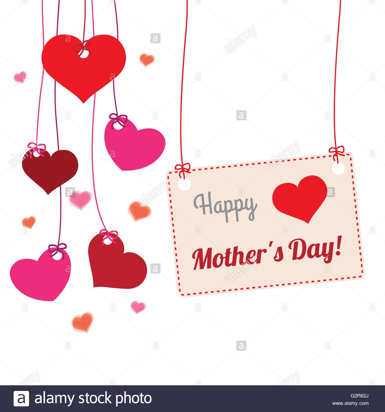 Hanging hearts with frame and text Happy Mothers Day Stock Vector ...