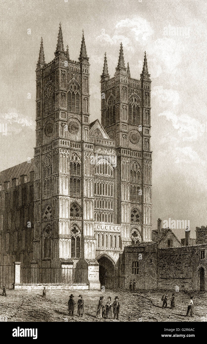 Westfront of Westminster Abbey, London, England - Stock Image