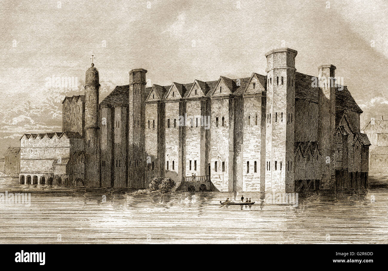 Baynard's Castle, a medieval palace, destroyed in the Great Fire of London, 1666 - Stock Image