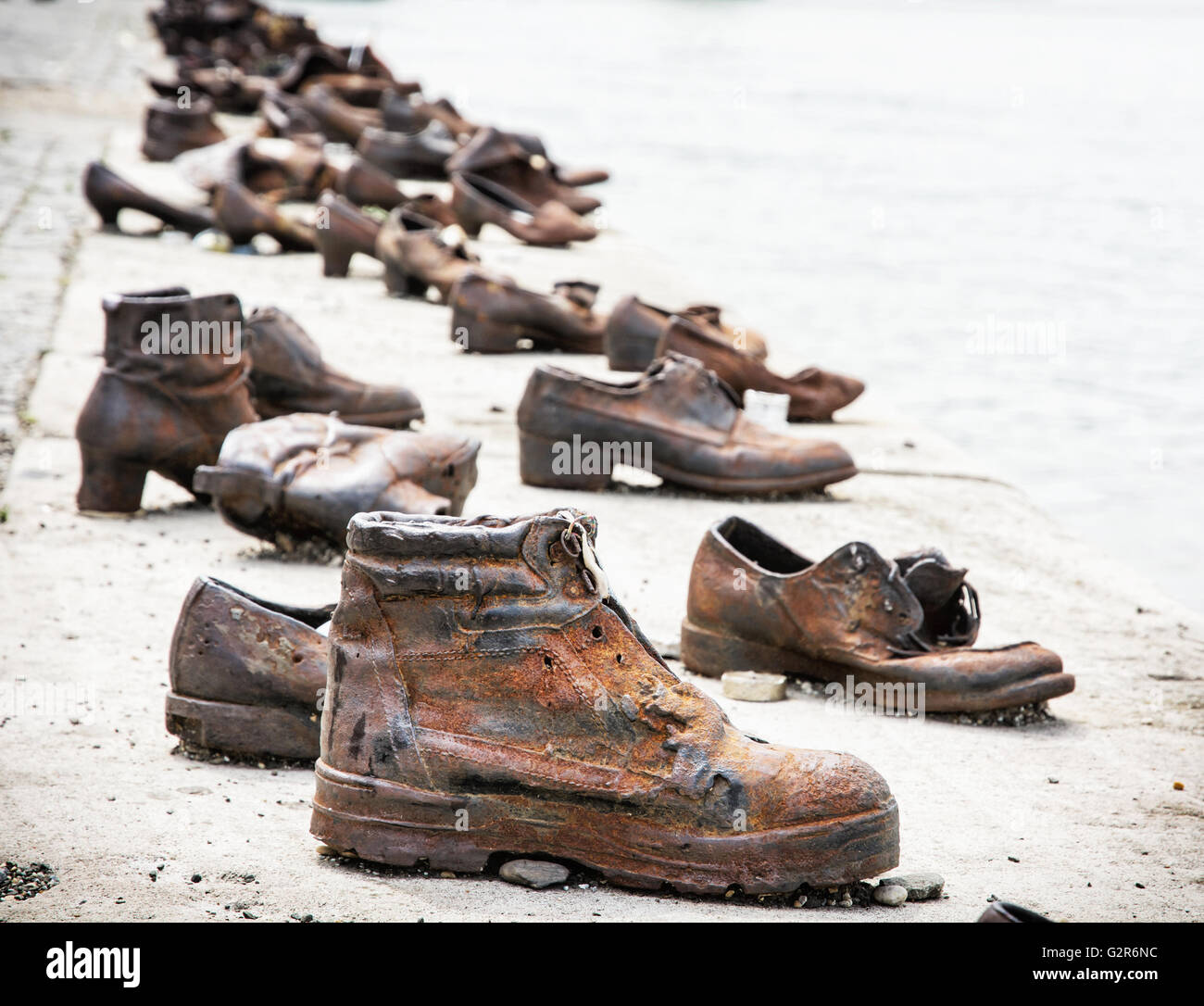 Shoes on the Danube bank is a memorial in Budapest, Hungary. Place of reverence. Cultural heritage. Symbolic object. - Stock Image