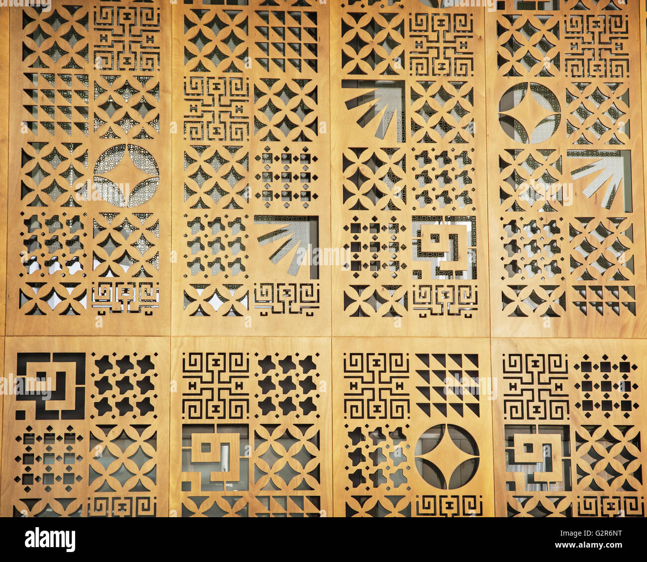 Wooden decorative wall on the exhibition. Artistic object Stock ...