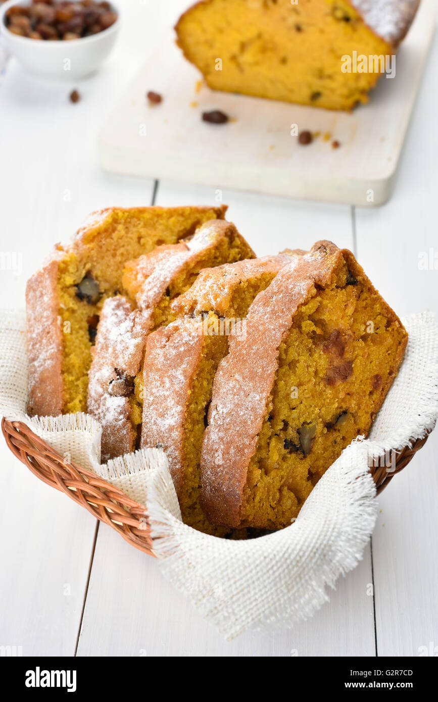 Slices of pumpkin bread with nuts and raisin - Stock Image