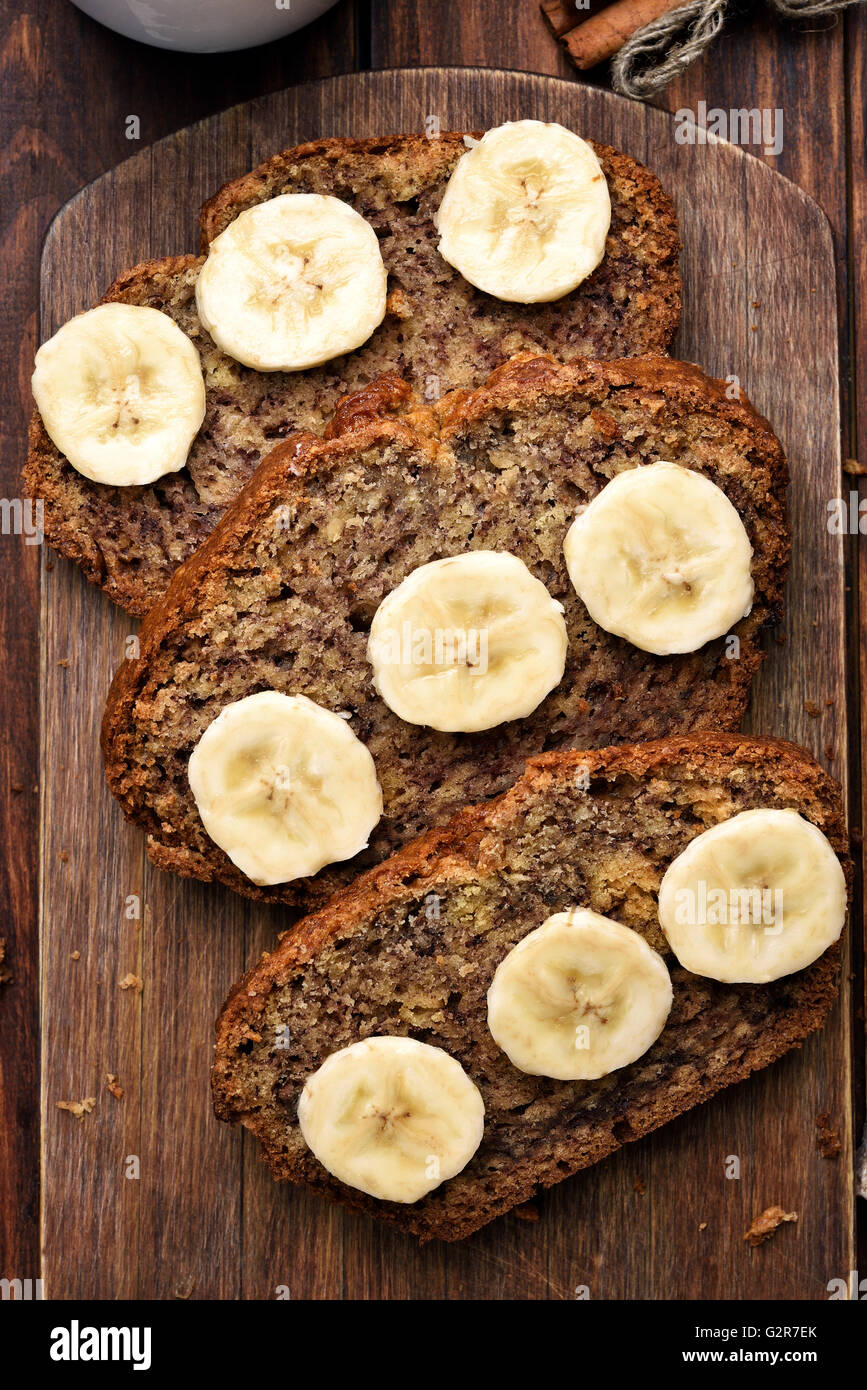 Slices of banana bread, top view - Stock Image