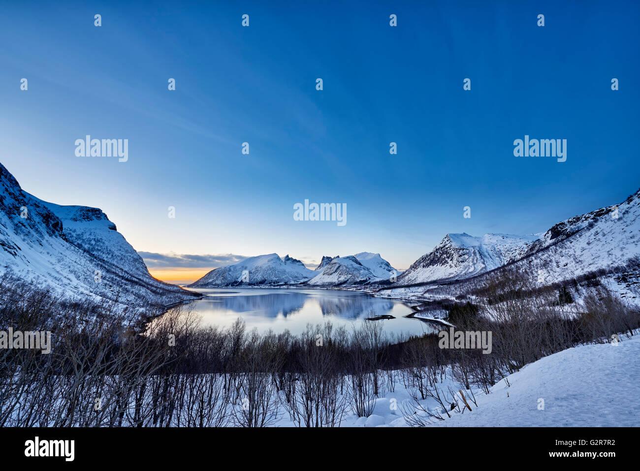 winter landscape panorama of Bergsfjorden, Senja, Skaland, Troms, Norway, Europe - Stock Image