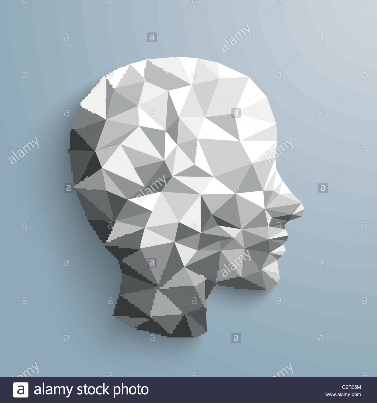 Low Poly Human Head With Shadows