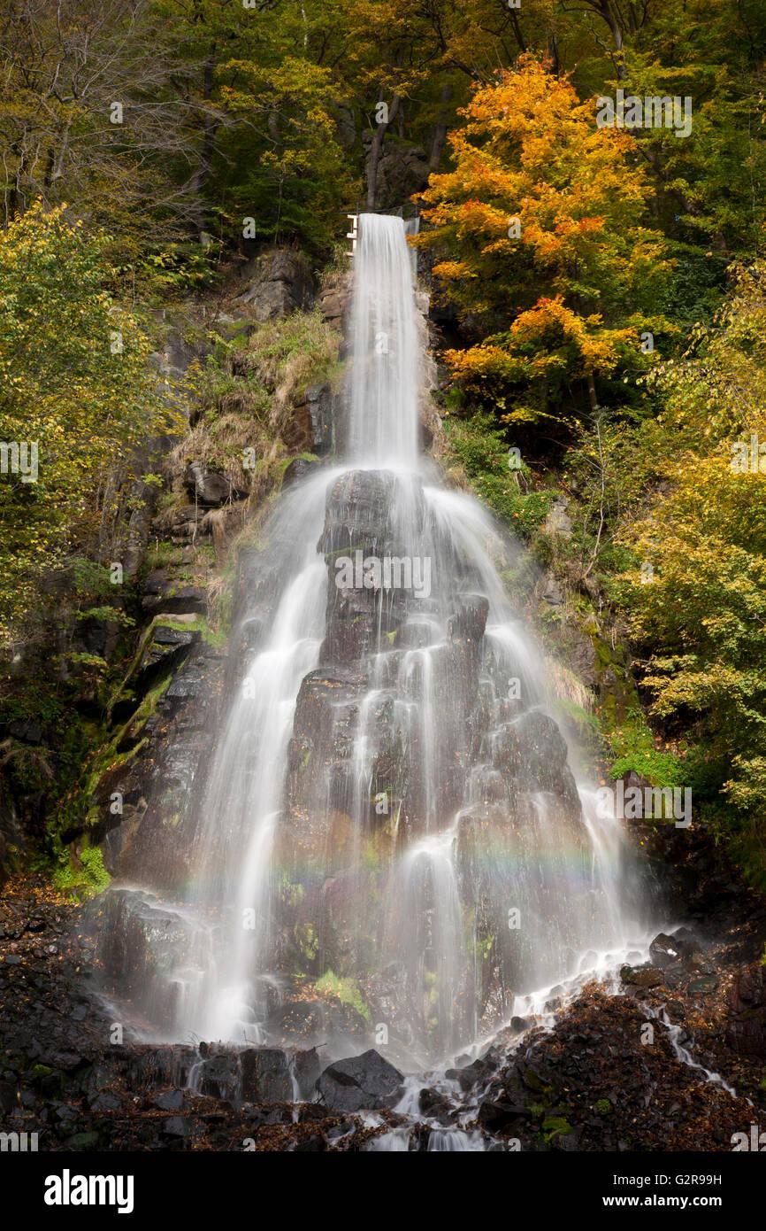 Waterfall in an autumnal landscape in Trusetal, Trusetal, Brotterode-Trusetal, Thuringian Forest, Thüringen, - Stock Image