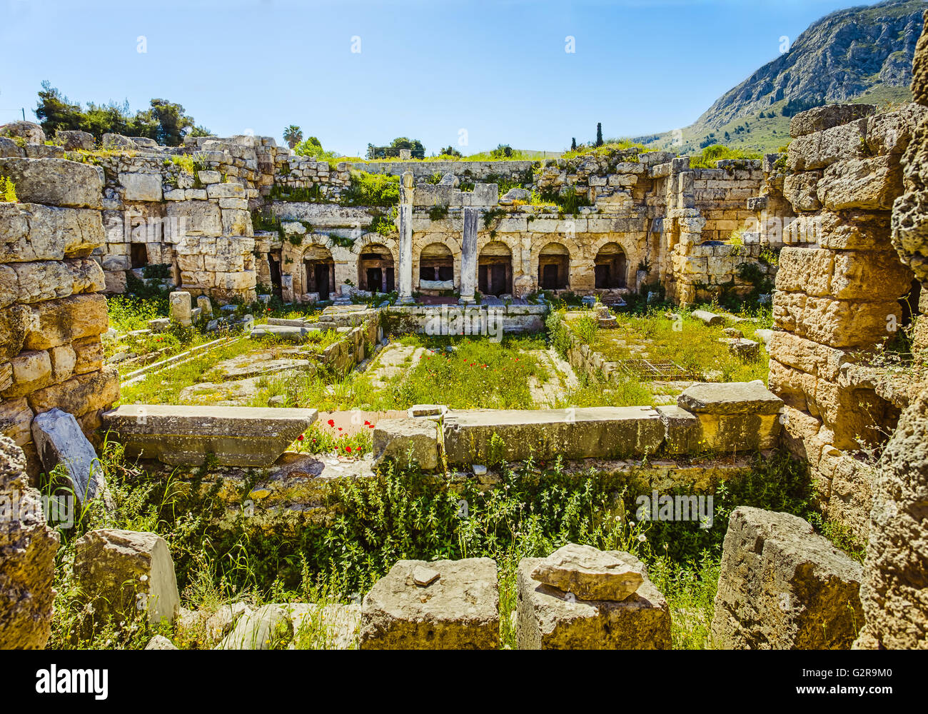 roman ruins of baths in Ancient Corinth, Peloponnese - Stock Image