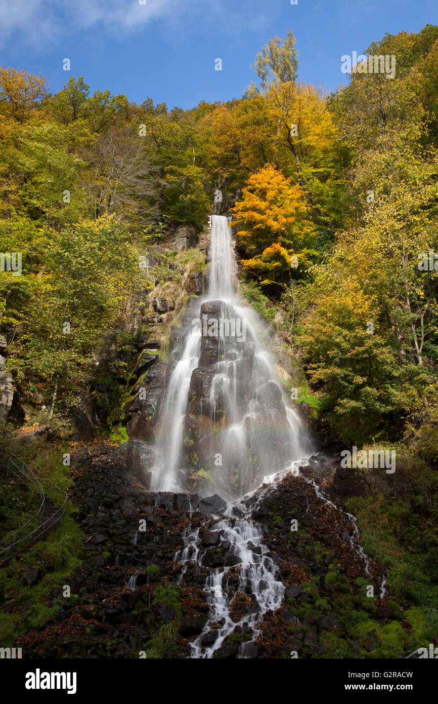 Waterfall in an autumnal landscape in Trusetal, Brotterode-Trusetal, Thuringian Forest, Thüringen, Germany - Stock Image