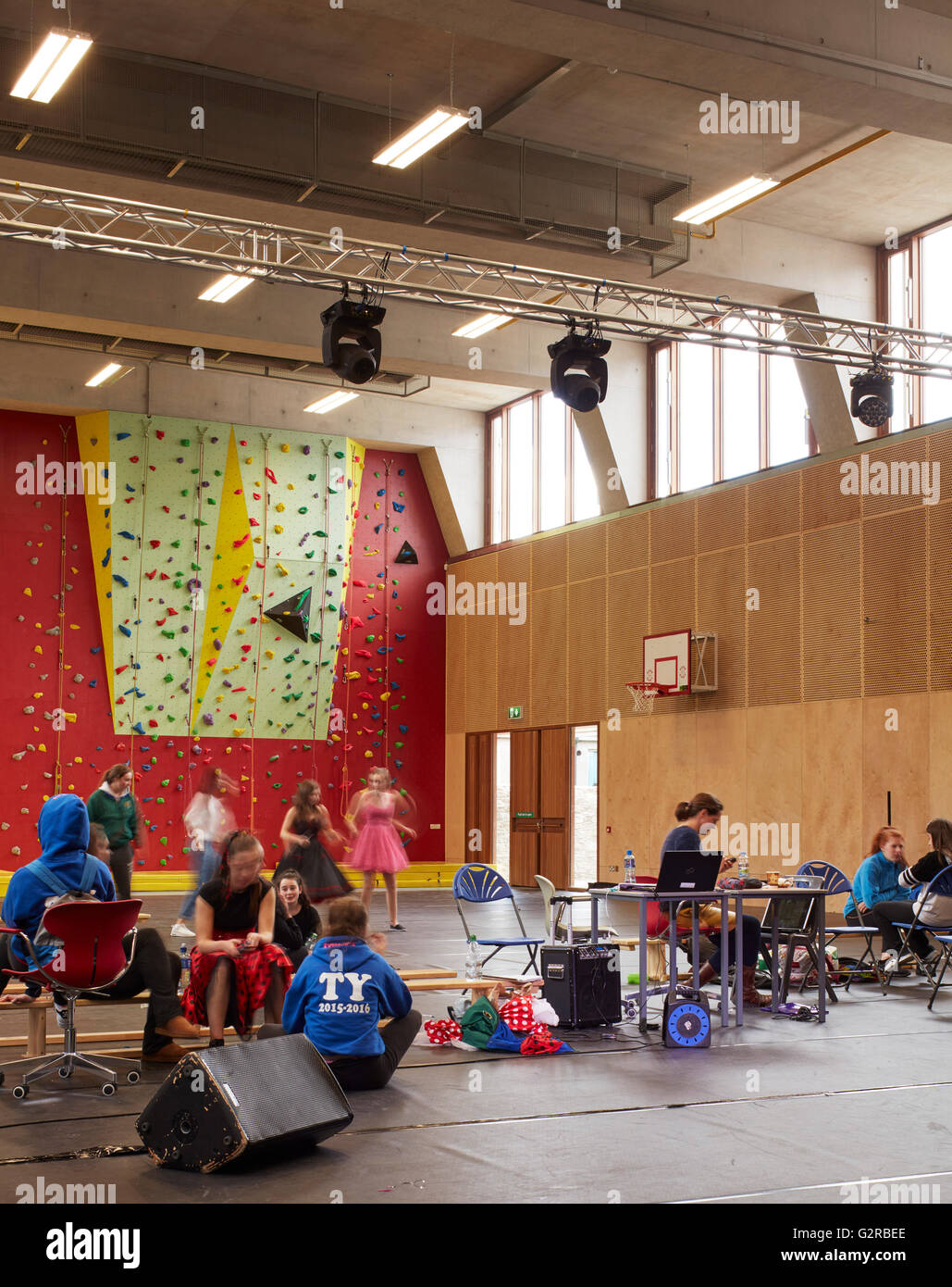Sports hall during event rehearsal. St Angela's College Cork, Cork, Ireland. Architect: O'Donnell and Tuomey, - Stock Image