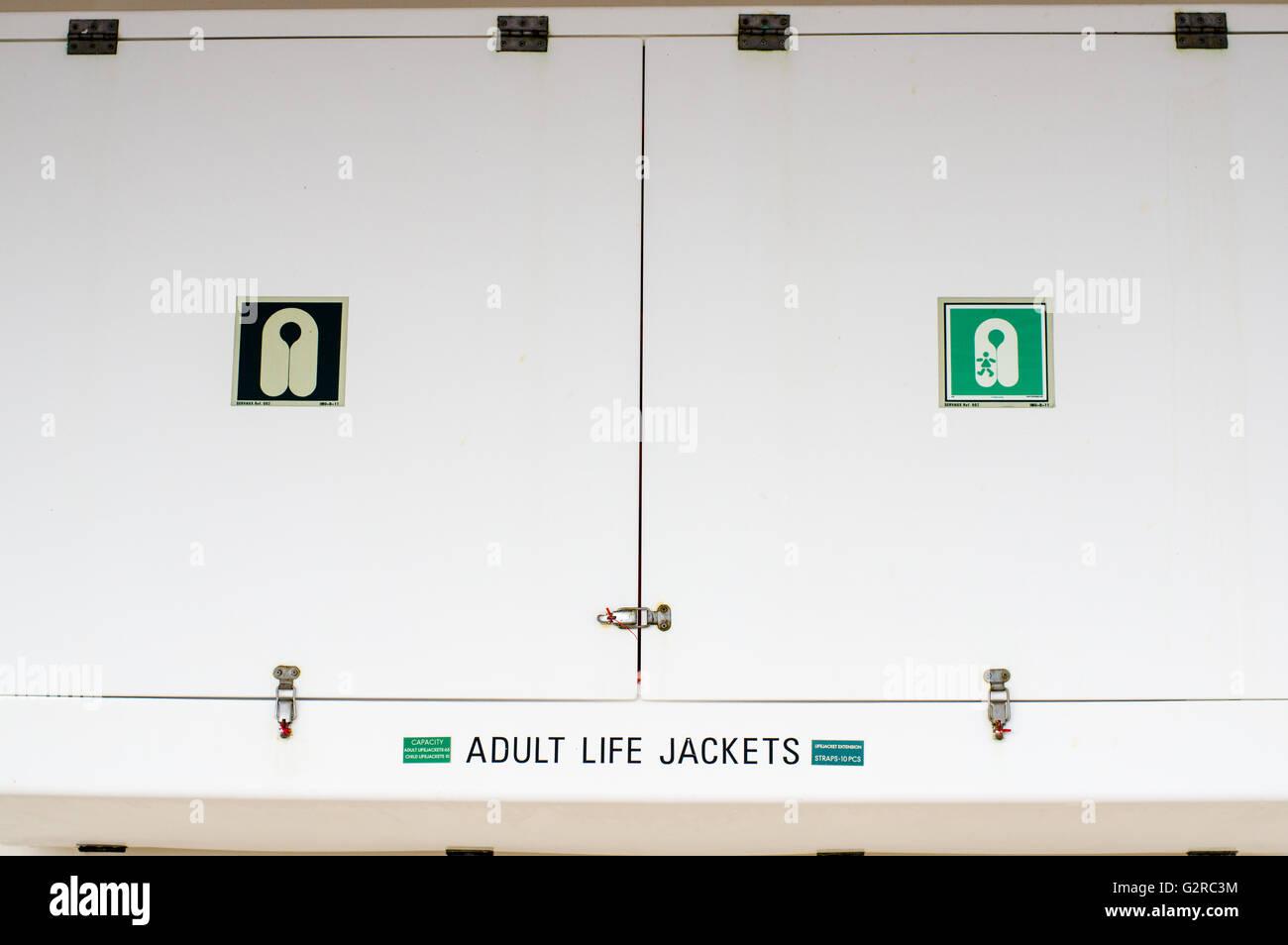 Life Jacket Storage Locker On Board A Cruise Ship