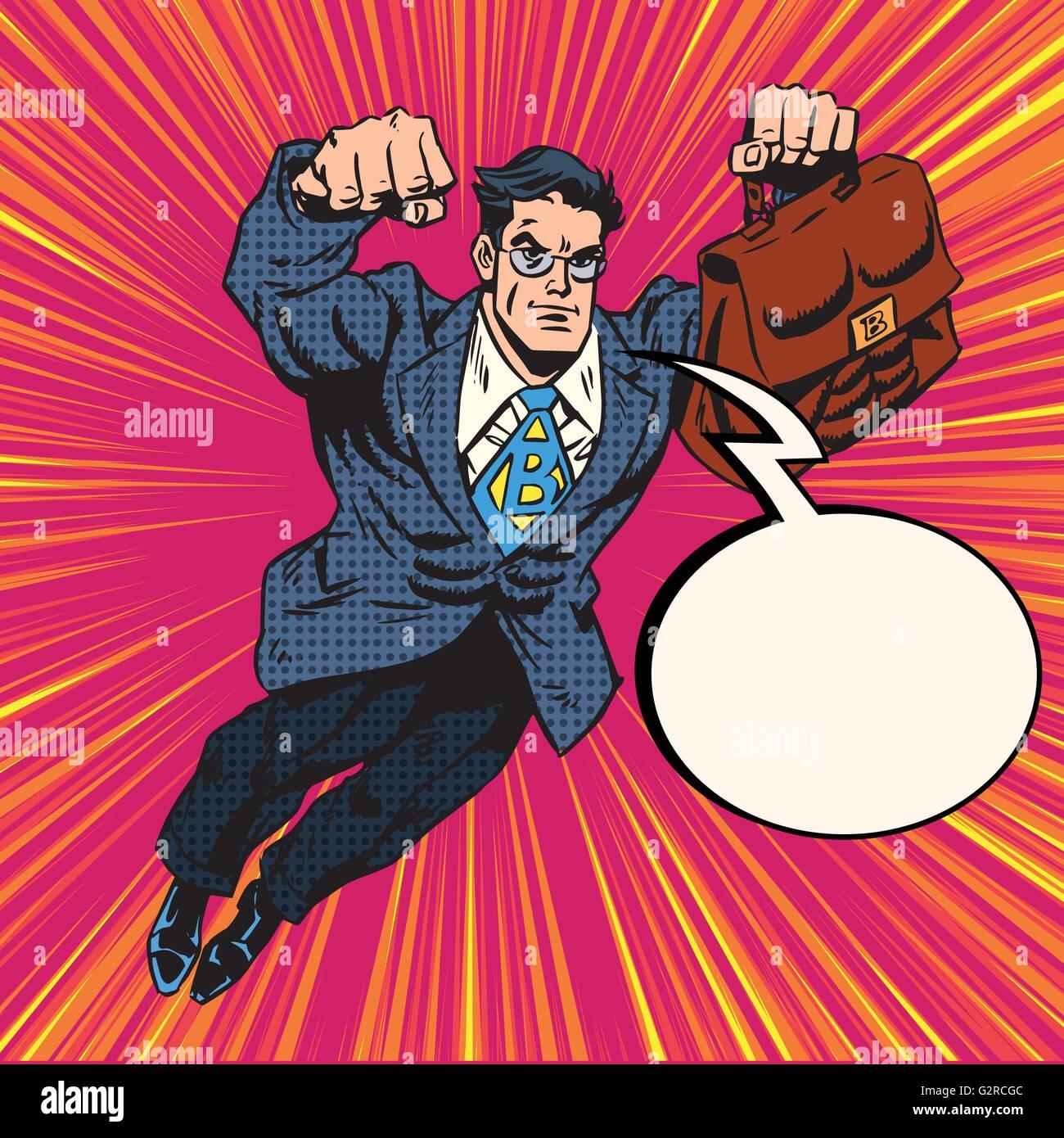 Businessman super hero flying - Stock Vector