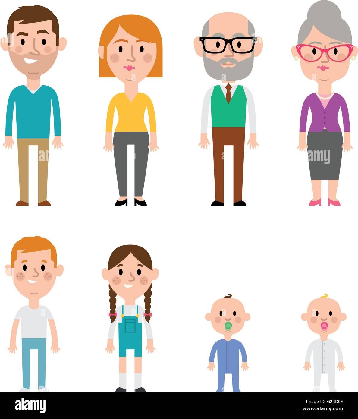 Flat Vector Caucasian Family Members. Parents, Grandparents, Children and Baby - Stock Image
