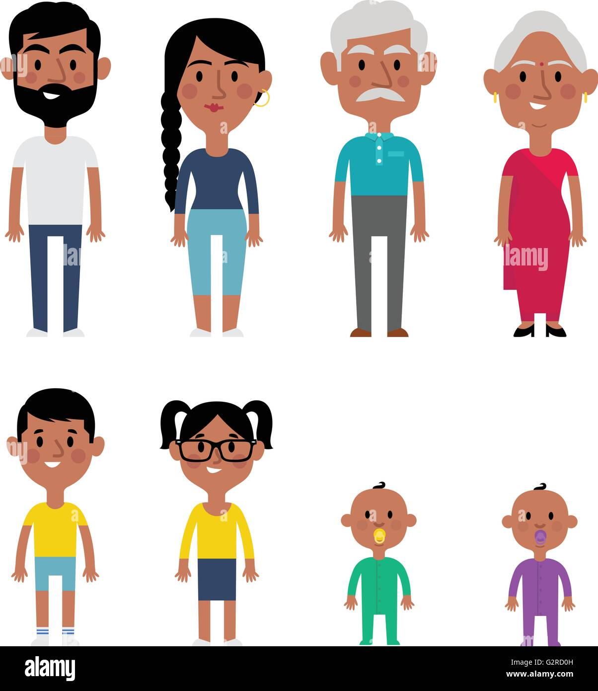 Flat Vector Indian Family Members. Parents, Grandparents, Children and Baby - Stock Image