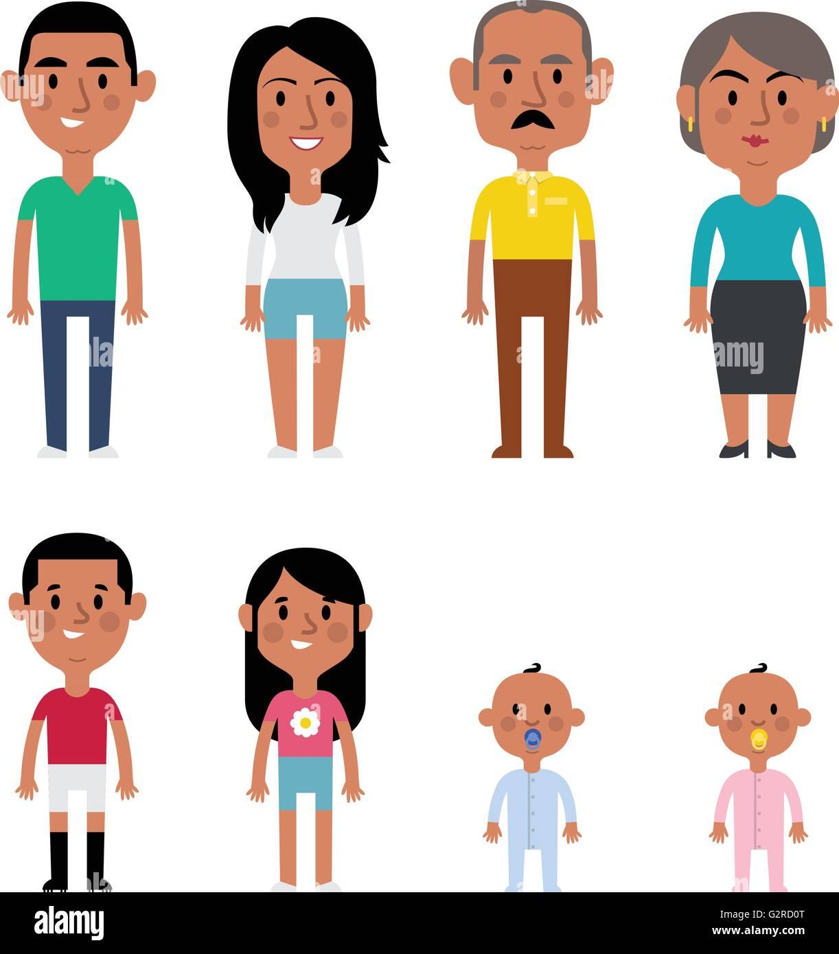 Flat Vector Hispanic Family Members. Parents, Grandparents, Children and Baby - Stock Image
