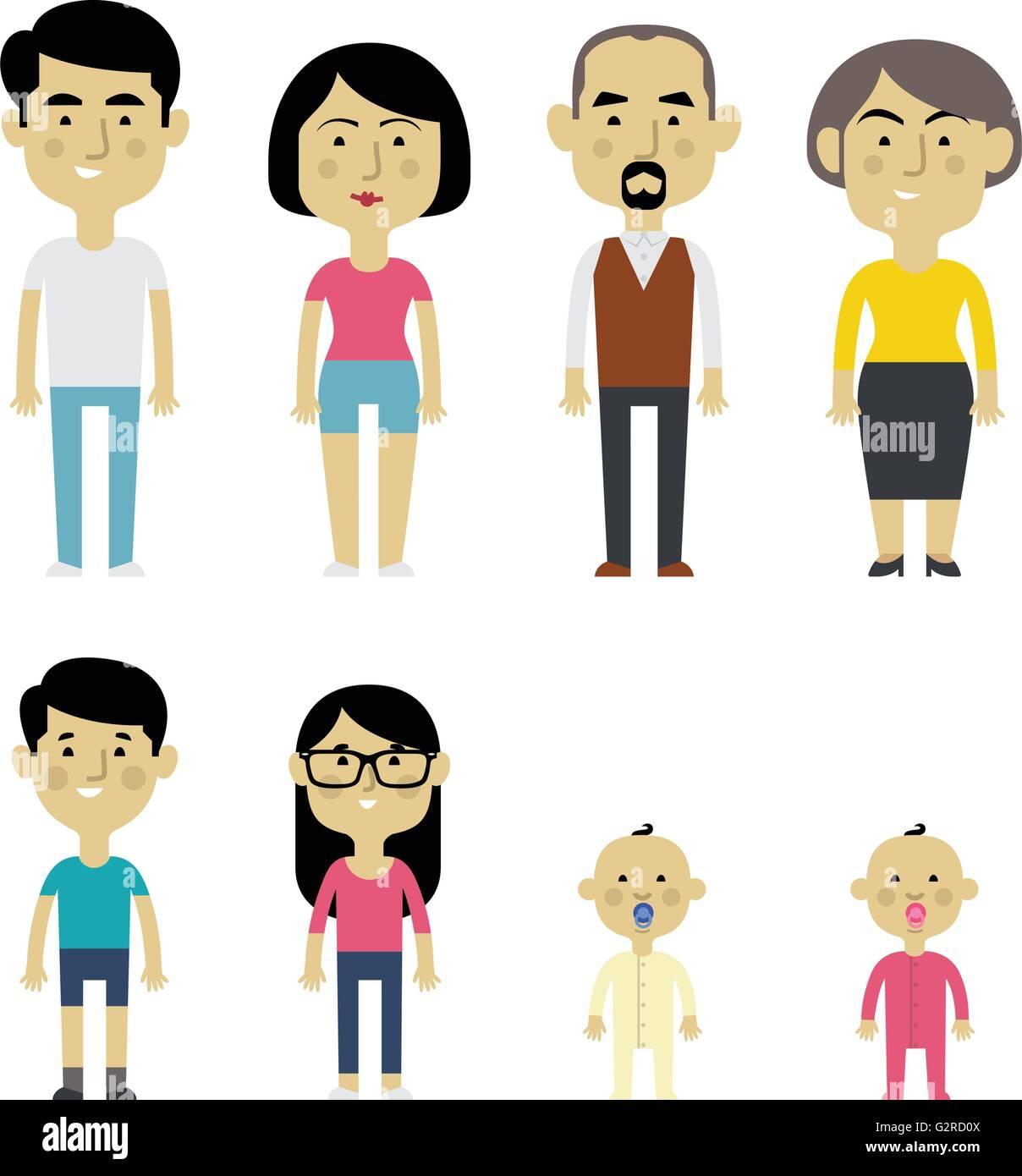 Flat Vector Asian Family Members. Parents, Grandparents ...
